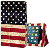 Ztotop Folio Case for Amazon Fire HD 8 Tablet (2017 and 2016 Release, 7th/6th Generation) - Smart Cover Slim Folding Stand Case with Auto Wake/Sleep for Fire HD 8 Tablet, US Flag