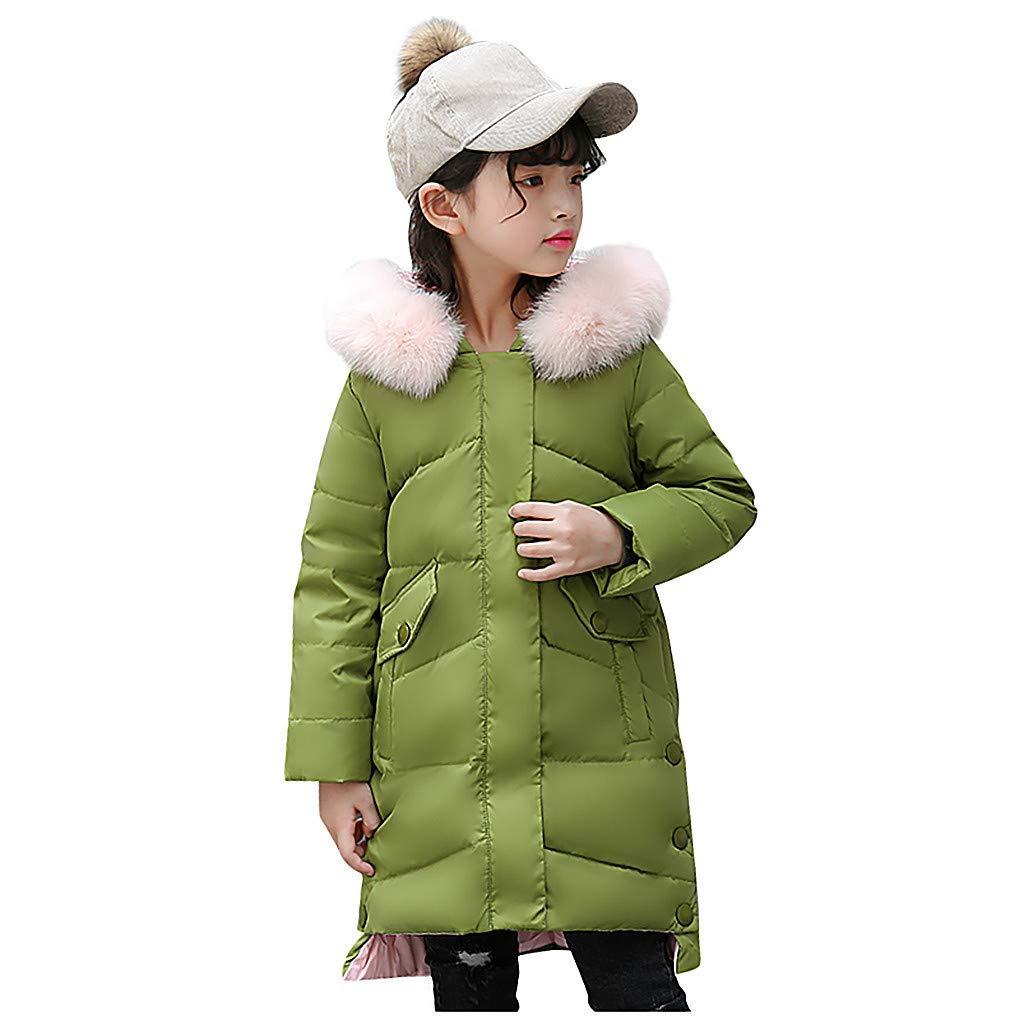 OCEAN-STORE Kids Girls Hooded Parka Winter Faux Fur Down Jacket Coat Puffer Padded Overcoat, Green, 11-12 T by OCEAN-STORE
