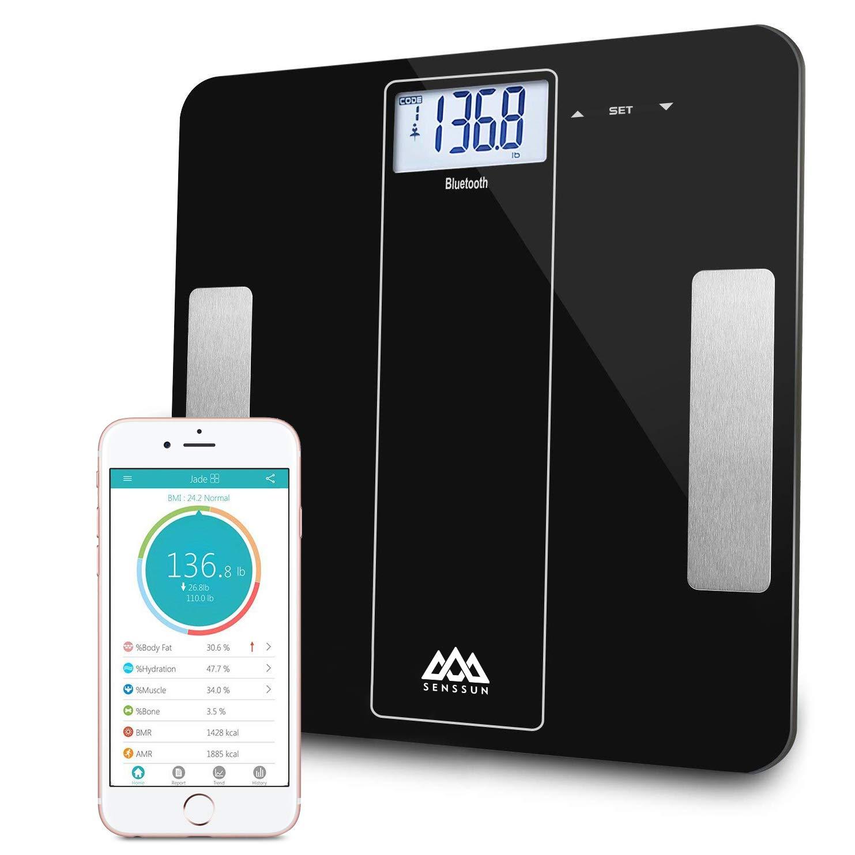 SENSSUN Bilancia Pesapersone Digitale Smart Bluetooth - Bilancia da bagno digitale approvata dalla FDA, con metro a nastro per misurare il corpo incluso, analizzatore di composizione corporea con APP per iOS e Android (Nero) CAMRY iF912B-NF-BB