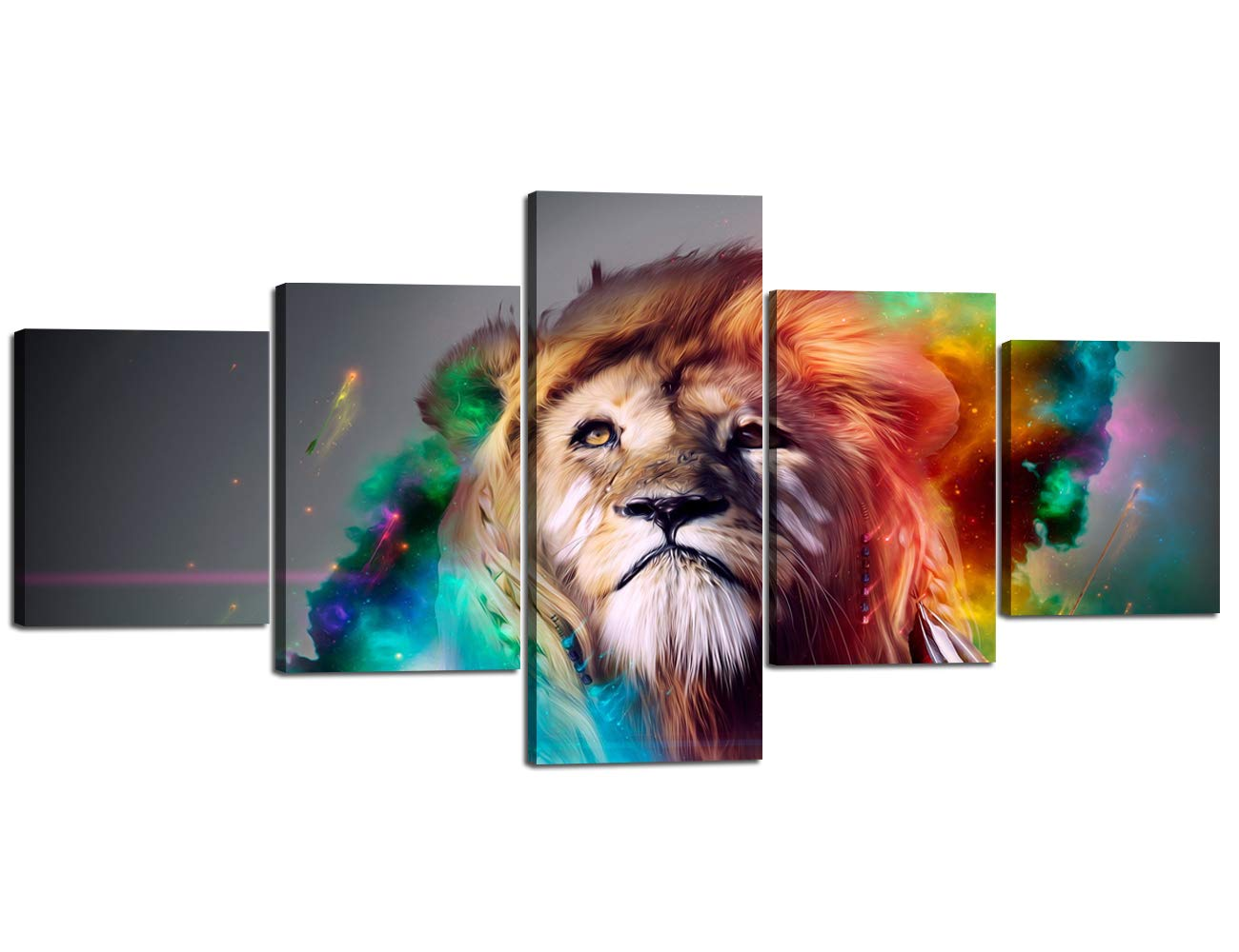 Artwork-08 50''W x 24''H Yatsen Bridge Framed Lion Pictures Wall Decor Modern 5 Panels White Black Lions Canvas Wall Art Easy to Hang Animal Posters for Living Room Bedroom Decor - 60''W x 32''H
