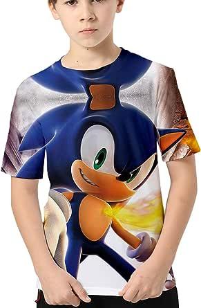 HAOSHENG Anime Camiseta 3D Impreso Niños Verano Manga Corta Sonic FanáticosT-Shirt Harajuku Casual para Niños