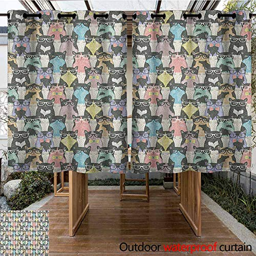 AndyTours Outdoor Grommet Top Curtain Panel,Cat,Pattern with Hipster Playful Feline Characters with Glasses and Bowties Vintage Style,for Patio/Front Porch,K160C160 Multicolor