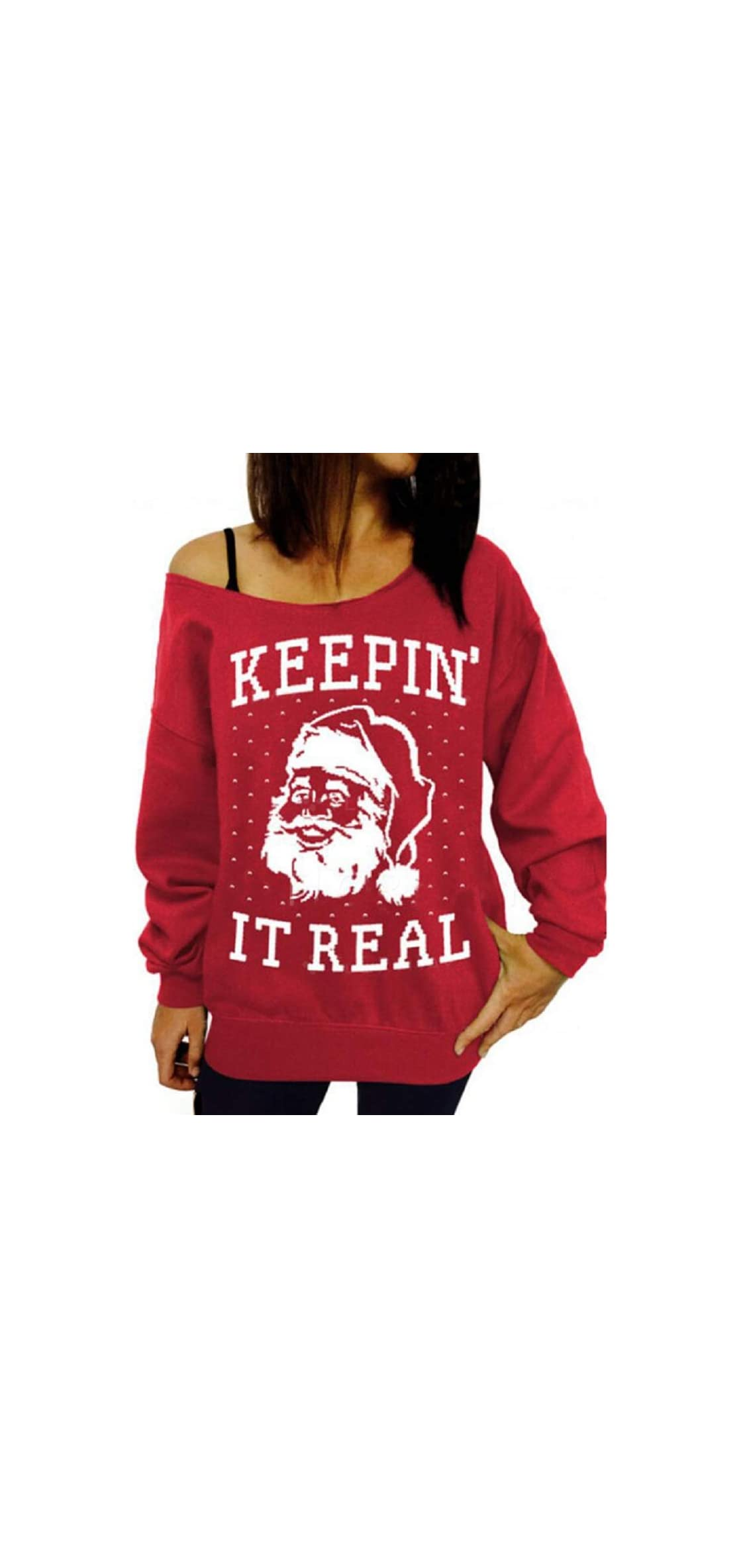 Womens Off Shoulder Ugly Christmas Sweater Cute Letter