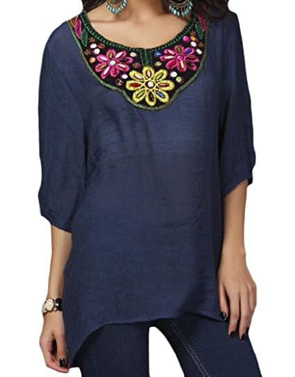 494f12ea162 CuteRose Women Bead 3 4 Length Embroidered Cotton Plus Size T-Shirt Top Navy