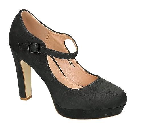 9324c3138294ca Klassische Trendige Damen Mary Jane Riemchen Pumps Stilettos Party High  Heels Plateau Schuhe Bequem 18 (