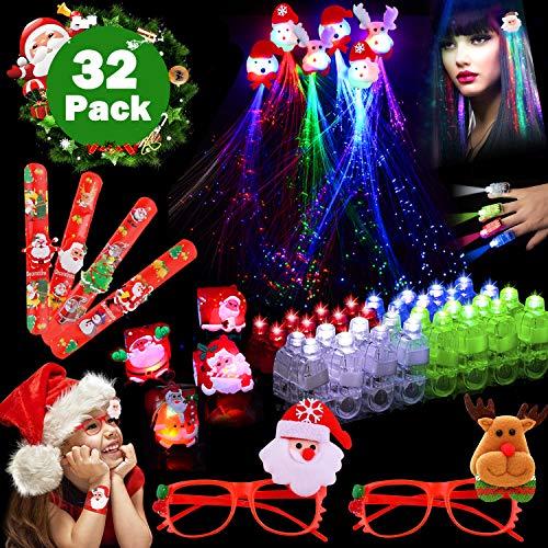 Christmas Party 32 Pack Favors, 20 LED Finger Lights Light Up 4 Slap Bracelet Santa Wristband 2 Glow Glasses 6 Reindeer Flashing Hair Christmas Costume Tree Decoration Birthday Gift