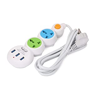 INSTABUYZ OXCORD Smart 3 Pin 2 Universal Sockets and 3 USB Ports with 6 Feet Long Wire Extension Board (Multicolour)