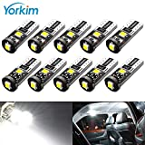 Yorkim 194 Led Bulb Canbus Error Free Super Bright White Light 3-SMD 2835 Chipsets, T10 LED Bulbs White Canbus Error Free, 2825 LED Bulbs, 168 LED Light Bulbs - T10 W5W 194 168 2825 Pack of 10