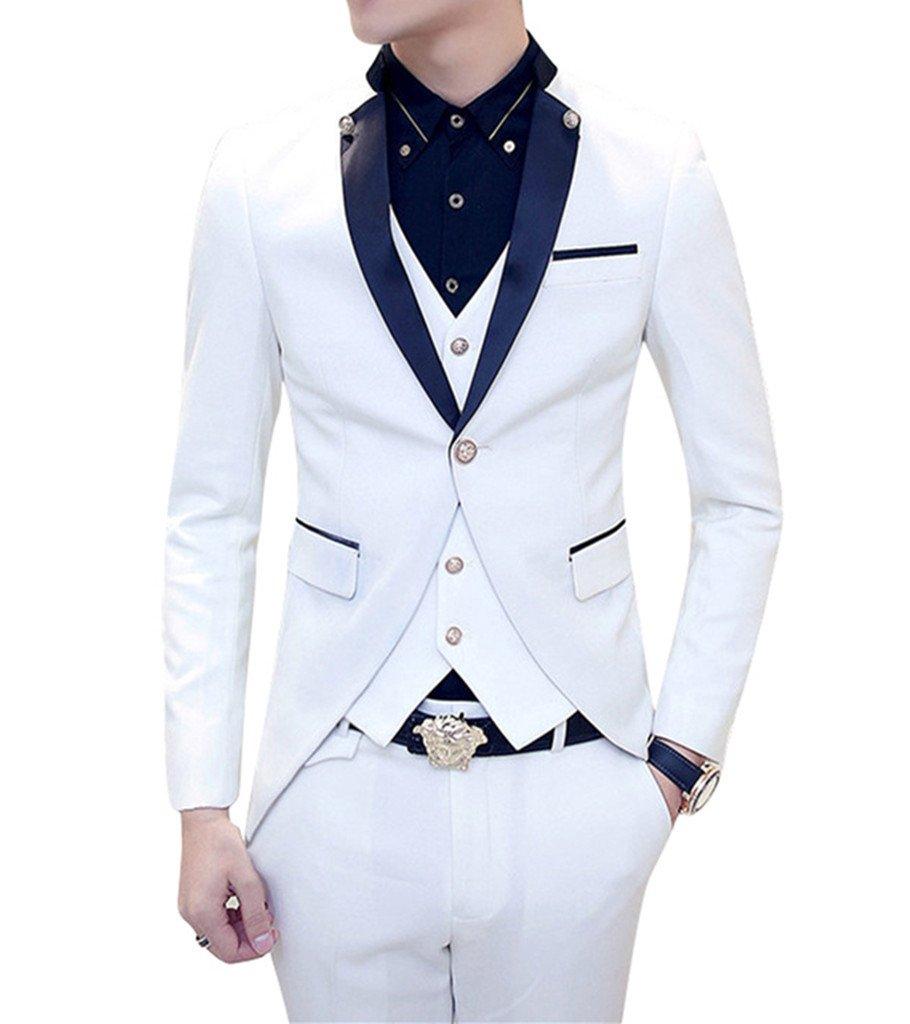 MOGU Mens Tail Tuxedo 3 Piece Suit US Size 32 White