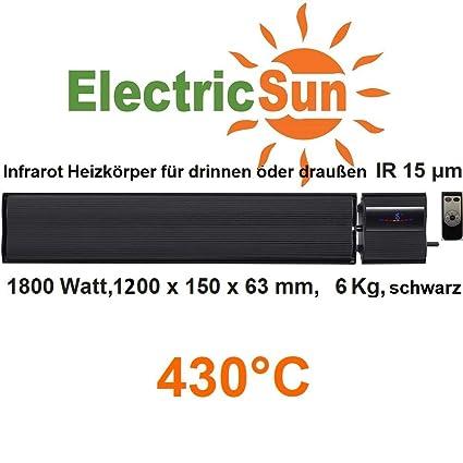 1800 W electricsun negro con termostato integrada con mando a distancia Panel calefactor de infrarrojos,