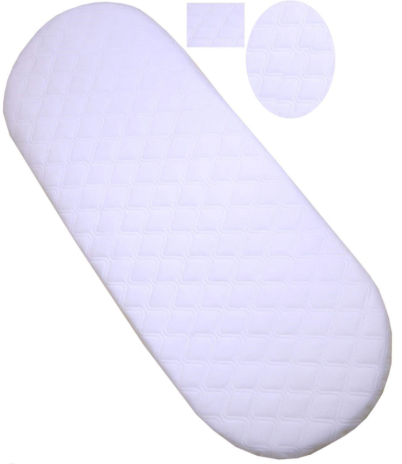 75 X 33 X 3.5 cm Moses Basket Foam Mattress Bassinet Baby PRAM Oval Fully Breathable Quilted Size