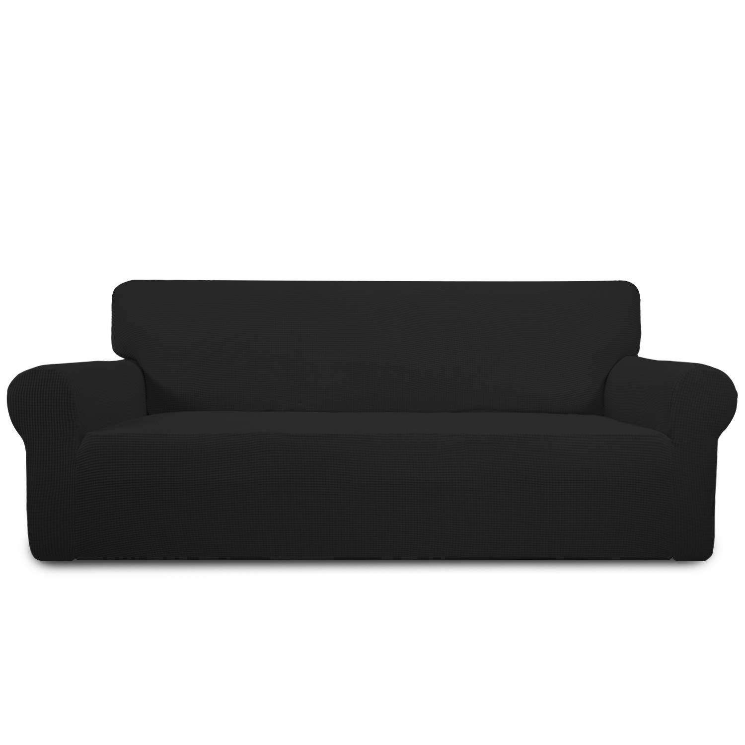 Easy-Going Sofa Covers, Furniture Protector with Elastic Bottom, Anti-Slip Foams 1 Piece Couch Shield, Polyester Spandex Jacquard Fabric Small Checks, Black