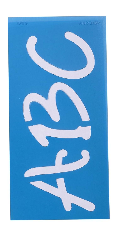 Westcott Letter Craft Lettering Stencil, Angelina Script, 3, Transparent (15814) 3 ACME United Corporation