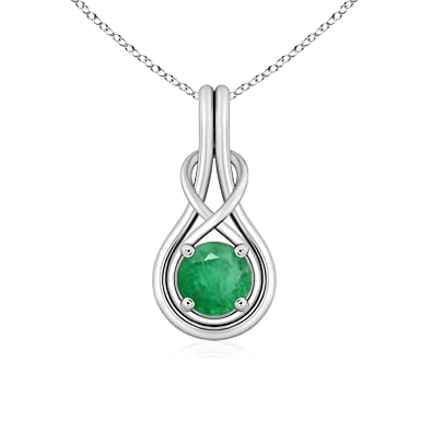 Angara Round Emerald Infinity Knot Necklace in Platinum c98lkfpdYf