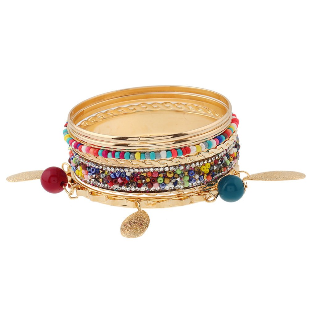 ISAACSONG.DESIGN Vintage Bohemian Multilayer Colorful Gold Tone Bangle Bracelet for Women, Set of 7