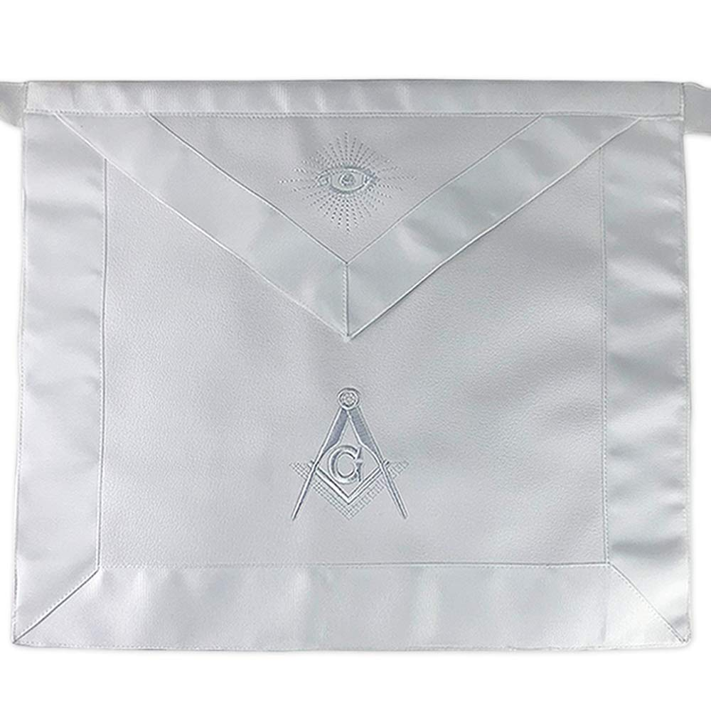 Imason Masonic Master Mason White Apron Square Compass with G - Synthetic Leather