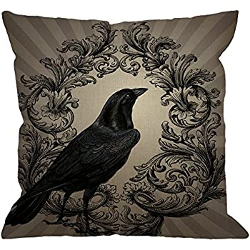HGOD DESIGNS Crow Throw Pillow Case Vintage Crow Black Flower Cotton Linen Square Cushion Cover Standard Pillowcase for Men Women Home Decorative Sofa Armchair Bedroom Livingroom 18 x 18 inch