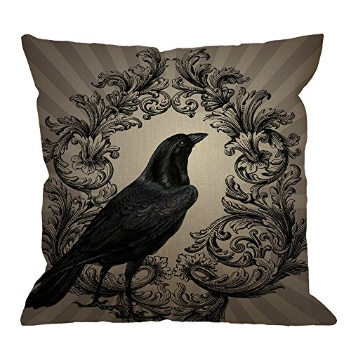 Crow Throw Pillow Case by HGOD DESIGNS Vintage Crow Black Flower Cotton Linen Square Cushion Cover Standard Pillowcase for Men Women Kids Home Decorative Sofa Armchair Bedroom Livingroom 18 x 18 inch