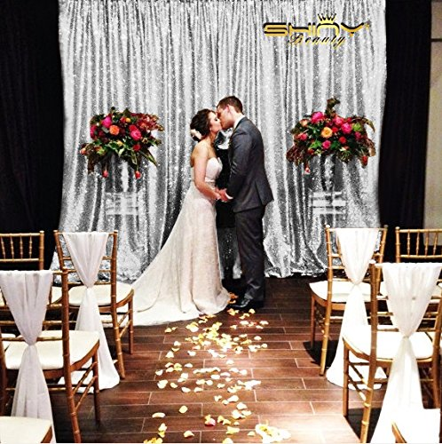 Wedding Silver Photograph - 9FTX9FT Silver Sequin Backdrops, Silver Sequin Fabric, Wedding Backdrops, Christmas Decoration, Sequin Curtains, Drape, Sequin Panels, Blush Home Decor