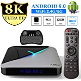 A95X Android 9.0 TV Box[4GB RAM+32GB ROM]Quad-core Cortex-A55 Amlogic S905X3 4K Ultra HD Bluetooth 4.2 Dual Band WiFi 2.4G/5GHz Ethernet Network10/100Mwith Wireless Mini Backlit Keyboard Smart TV Box