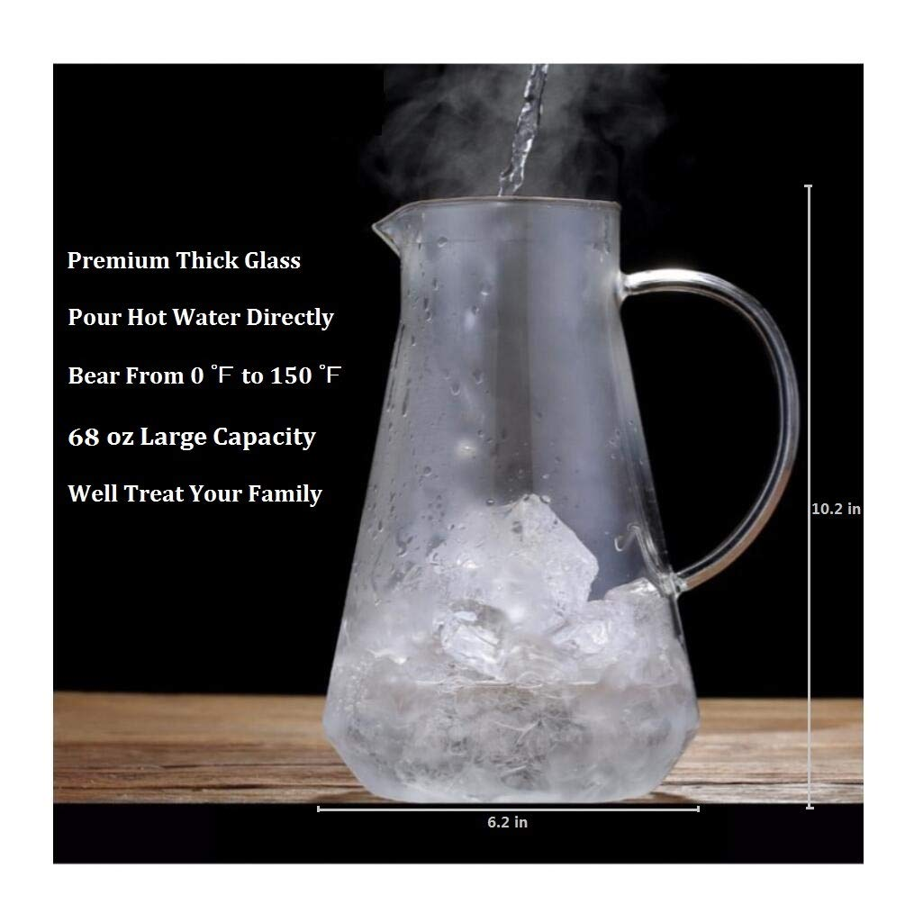 SmartHom 68 Ounces Glass Pitcher, Drip-Free Water Pitcher With Tight Lid and Pretty Brush by SmartHom (Image #5)