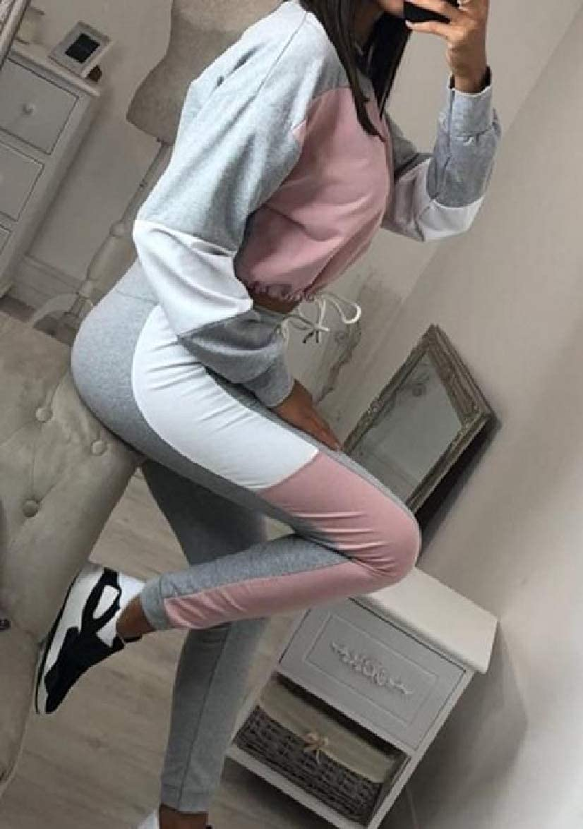 Abetteric Women Winter Splice Casual Contrast Color Tops Outwear and Pants Outfit