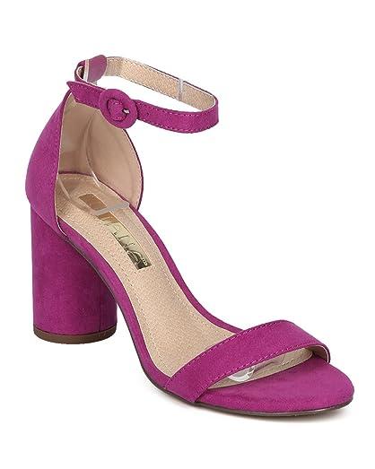 Women Minimalist Block Heel Sandal - Open Toe Round Chunky Heel - Dressy Versatile Wedding Special Occasion Formal Heel - HC47 by Liliana Collection