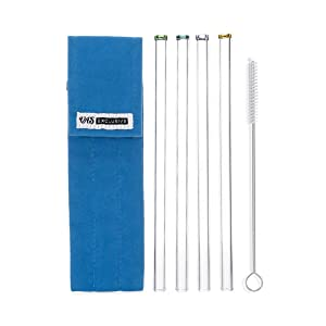 Reusable Straws with Case - 4 Pack with Cleaning Brush - Smoothie Straws - Wide Flow for Smoothies, Juices, Frozen Drinks, Milkshakes, Tea - Portable Glass Straws Drinking, BPA Free, Clear, Long