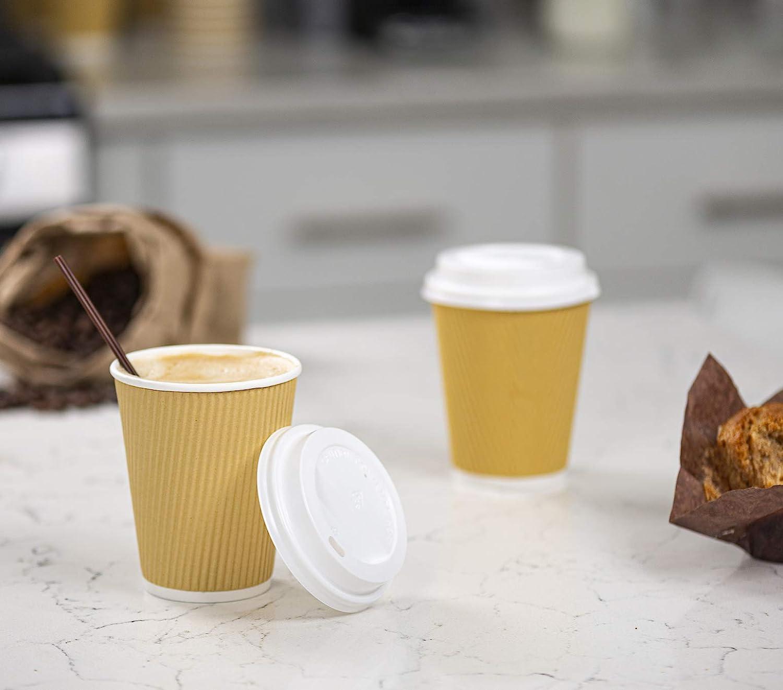 Comfy Package Tasses Chaudes en Papier Blanc Paquet de 100 10 oz Tasses /à caf/é et /à th/é