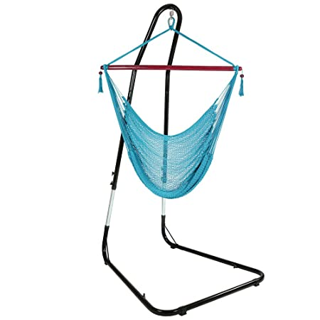 Sunnydaze Hanging Rope Hammock Chair Swing with Adjustable Stand, Extra Large Caribbean, Sky Blue – for Indoor or Outdoor Patio, Yard, Porch, and Bedroom