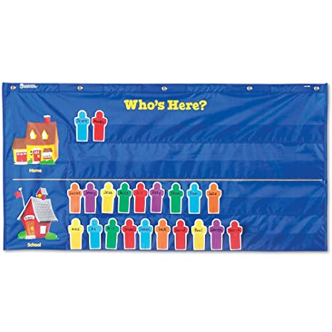 Amazoncom Learning Resources Attendance Pocket Chart Blue