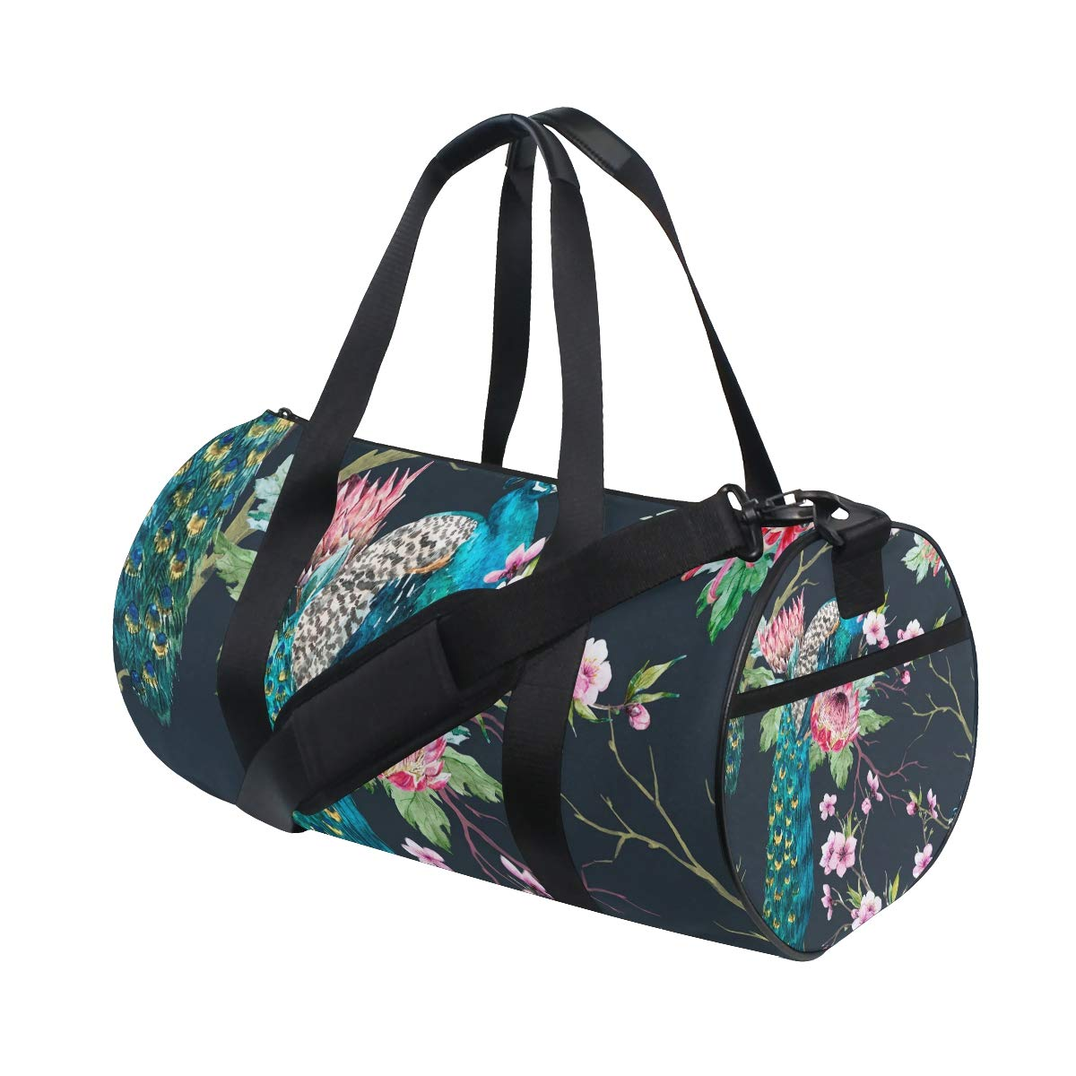 Peacock Sports Gym Bag Travel Duffel Bag with Pockets Luggage & Travel Gear Shoulder Strap Fitness Bag