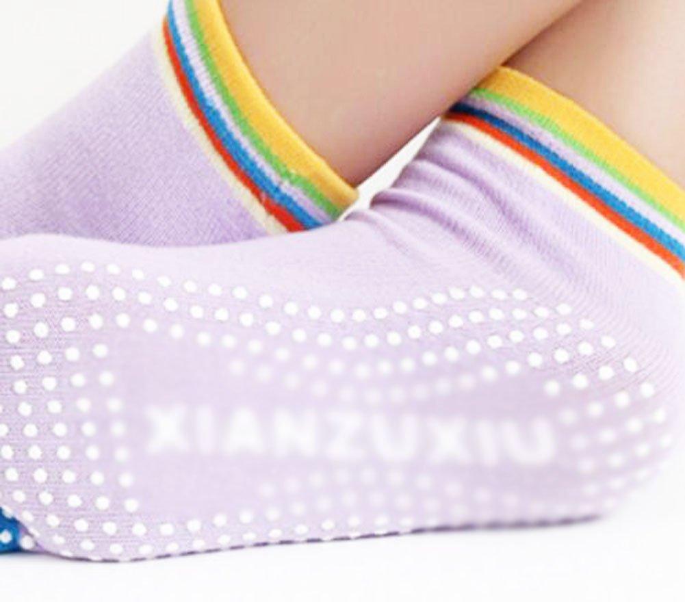 Purple Thicken Non Slip Women Cotton Toe Yoga Socks