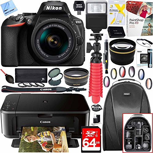 Nikon D5600 24.2MP DX-Format Digital SLR Camera w/ AF-P 18-55mm f/3.5-5.6G VR Lens Kit and Canon Pixma MG3620 Wireless Inkjet All-In-One Multifunction Photo Printer 64GB Accessory Bundle by Beach Camera