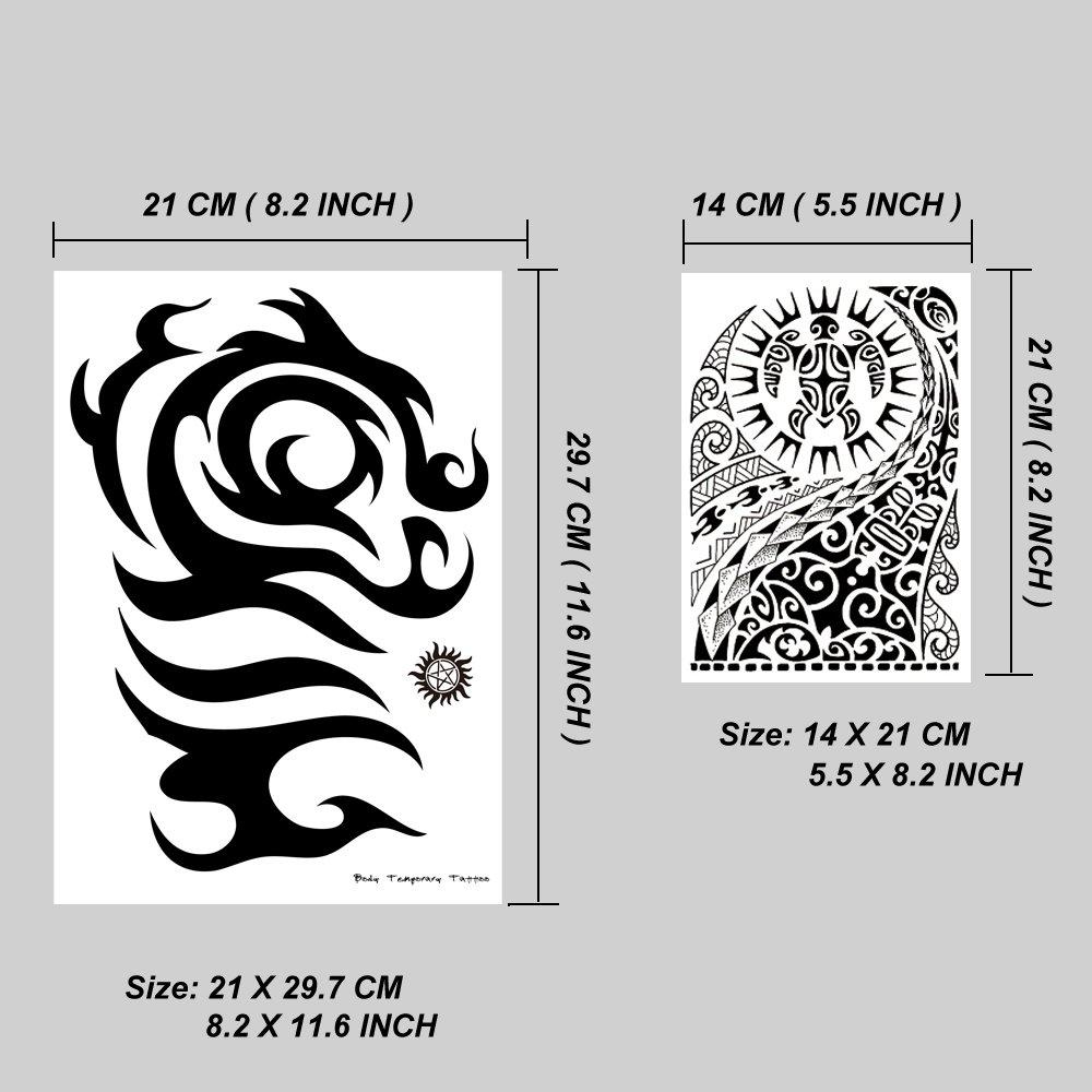 Leoars 6 Sheets Black Large Temporary Tattoos Big Tribal Totem Tattoo Sticker for Men Women Body Art Makeup Fake Tattoo Waterproof Removable by Leoars (Image #1)