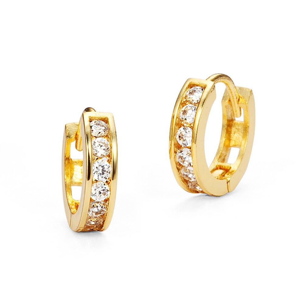14k Gold Plated Brass Baby Channel Huggy Girls Earrings