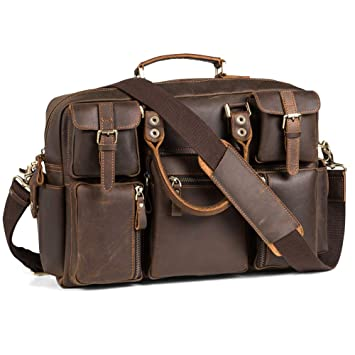 509ac7559a4b Leather Messenger Bag Business Case Computer Briefcase for 16'' Laptop Pabin