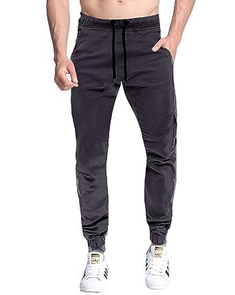 MODCHOK Homme Pantalon Long Pants Sarouel Jogging Chino Slim Cargo Sport  Gris foncé S f4e8c7982d3