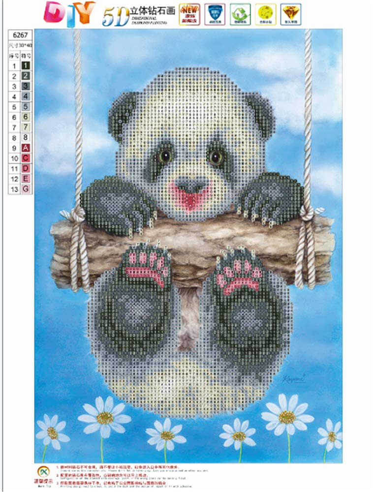 Wildlead DIY Embroidery Cute Panda 5D Diamond Painting Cross Stitch Craft Home Wall Decor