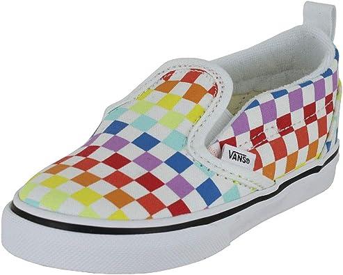 rainbow slip on vans kids