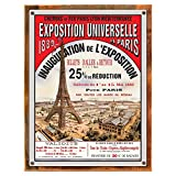 Wood-Framed Paris Expo Metal Sign: Travel Decor Wall Accent for kitchen on reclaimed, rustic wood