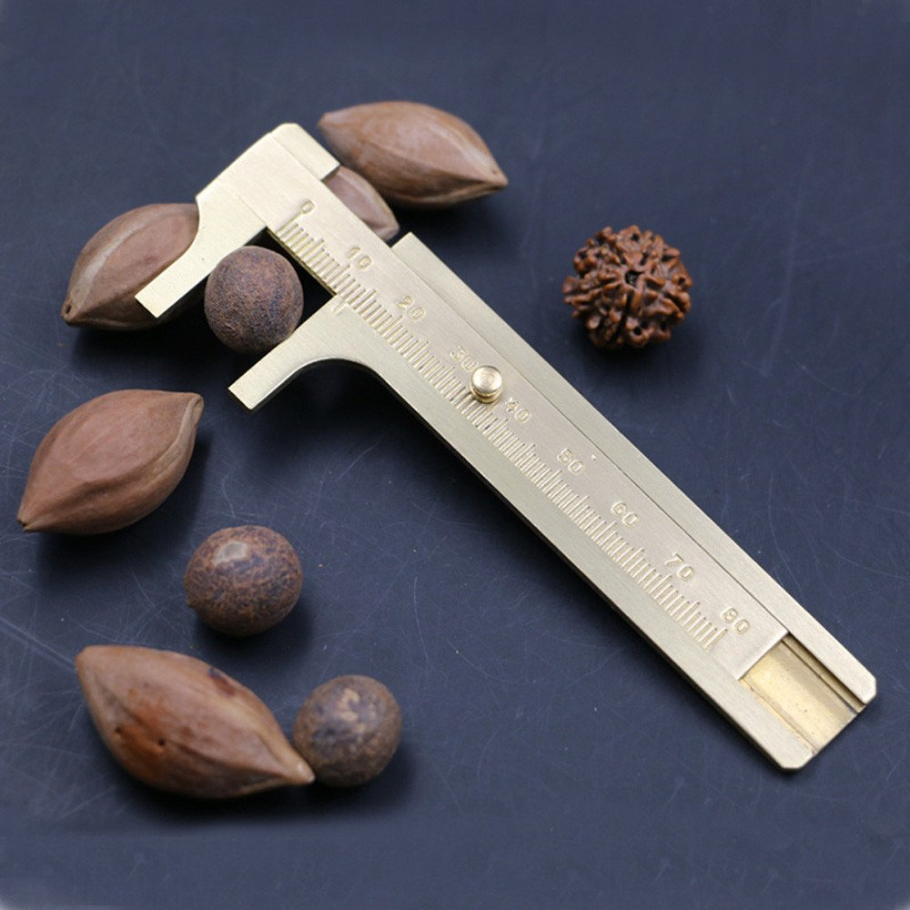 A High Quality 80mm Copper Alloy Metal Vernier Caliper Gauge Micrometer Measuring Ruler Tool