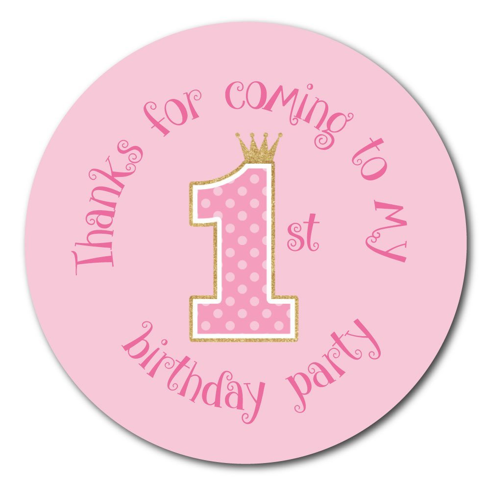 'Thanks For Coming To My First Birthday Party' - Pink polka dot and gold glitter effect - 30mm stickers (144) StickerZone