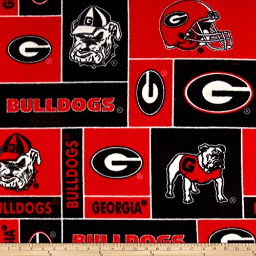 College University of Georgia Bulldogs 012 Print Fleece Fabric By the - Fleece Bulldogs