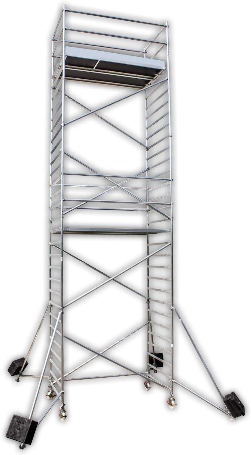 Altec profesional Andamio de aluminio Light 1020 S XXL, Ancho 1,35 m, longitud 2,5 m, altura de trabajo 10,4 M, incluye ruedas y auslegern, certificación TÜV., fabricado en Alemania, Andamio de aluminio,