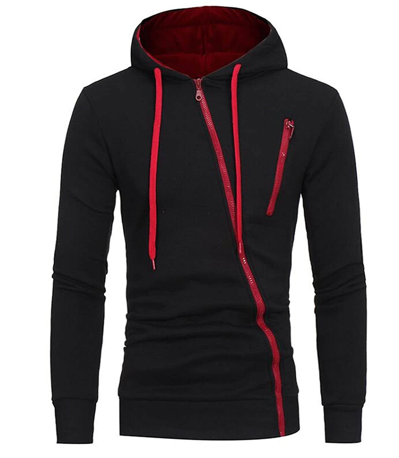 Brand NEW Hoodie Features Zipper Mens Moletom Masculino Hoodies Slim Tracksuit Black XL