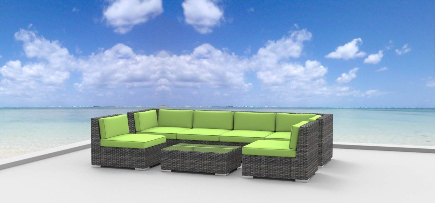 Urban Furnishing.net - OAHU 7pc Modern Outdoor Wicker Patio Furniture Modular Sofa Sectional Set, Fully Assembled - Lime Green -  - patio-furniture, patio, conversation-sets - 61sdK9y9iJL -