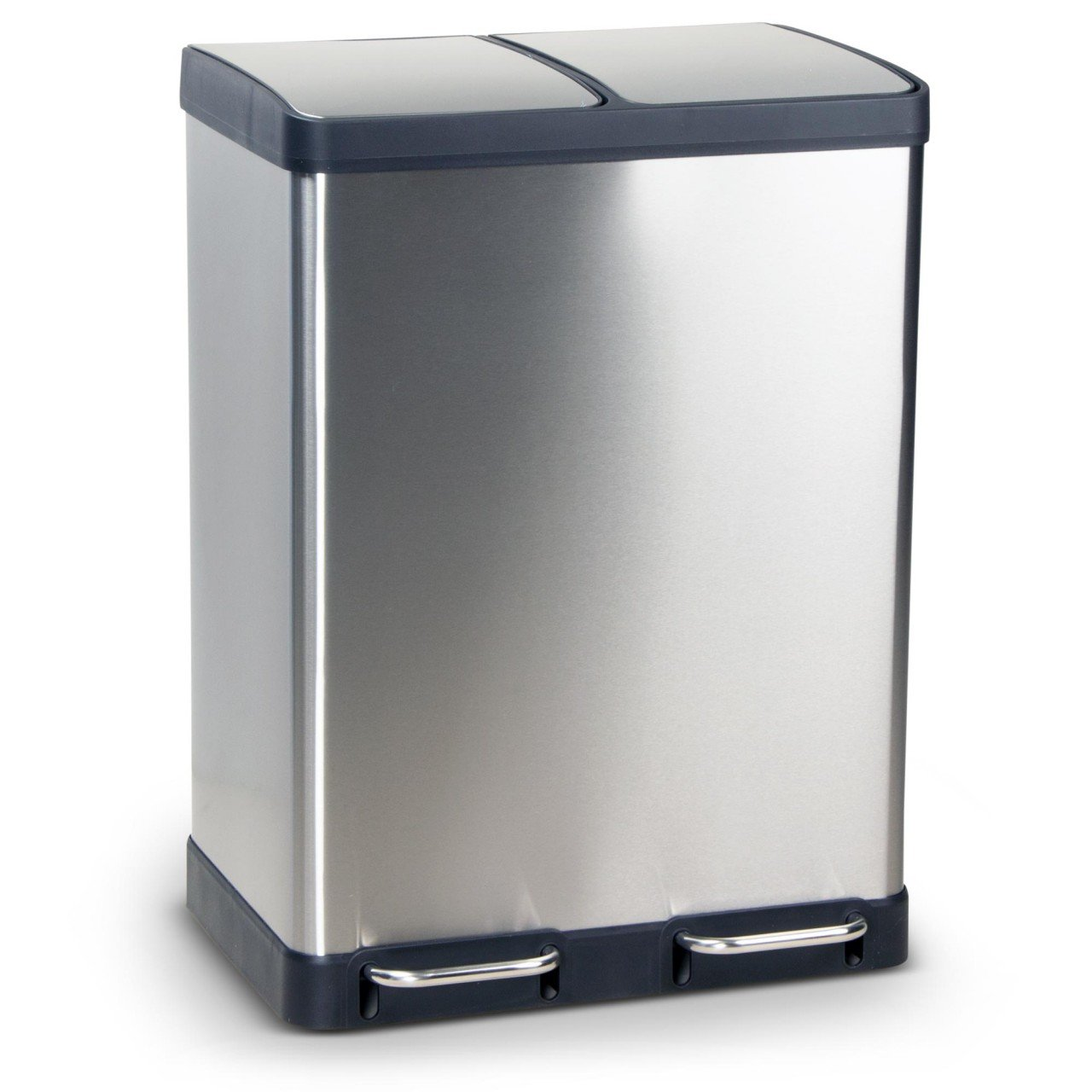 Stainless Steel Pedal Bin OSLO Trash Can, Dustbin, Dimensions: 49x39x49 cm, Volume: 2 x 20 Litres ambico