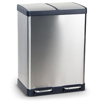 Mülleimer Abfalleimer BERGEN aus Edelstahl Mülltrennsystem für die Küche,  Maße: 49x39x67 cm (L/B/H), Volumen: ca. 60 Liter