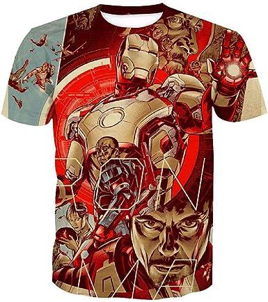 Denkqi Camiseta T-Shirts Hombres Mujeres Impresión 3D para Verano Redondo Manga Corta Poliéster/Algodón Ventilación Suave Deportiva Tops Iron Man XXXL: Amazon.es: Ropa y accesorios